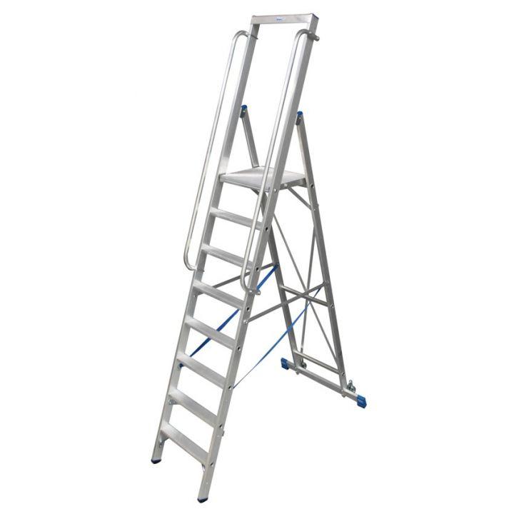 Лестница-стремянка KRAUSE Stabilo с большой площадкой и поручнями (127761)