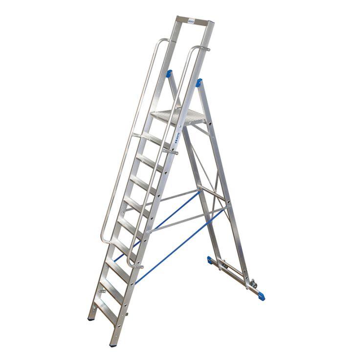 Лестница-стремянка KRAUSE Stabilo с большой площадкой и поручнями (127822)