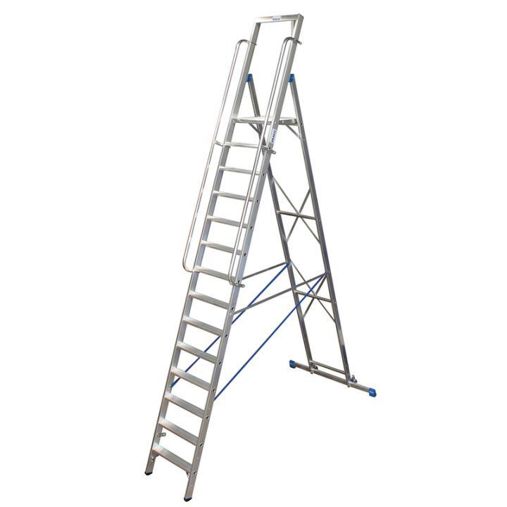 Лестница-стремянка KRAUSE Stabilo с большой площадкой и поручнями (127846)