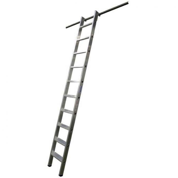 Навесная стеллажная лестница со ступенями и одной парой крюков KRAUSE Stabilo (125149)