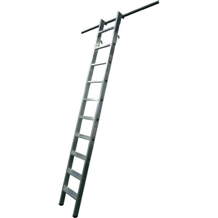 Навесная стеллажная лестница со ступенями и двумя парами крюков KRAUSE Stabilo (125200)