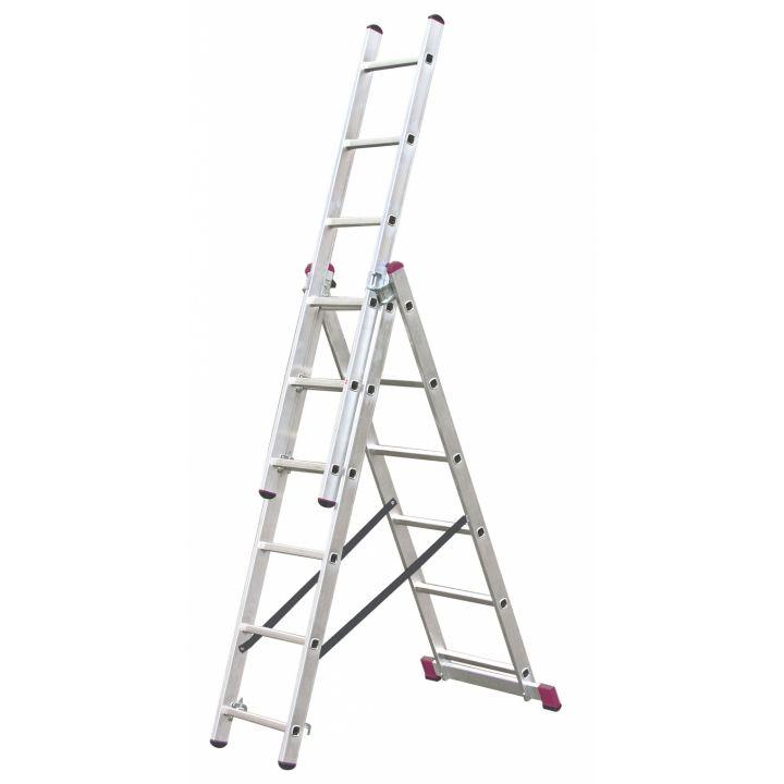 Лестница алюминиевая трехсекционная KRAUSE Corda (010360)