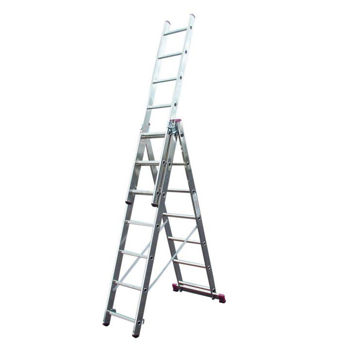 Лестница алюминиевая трехсекционная KRAUSE Corda (010377)