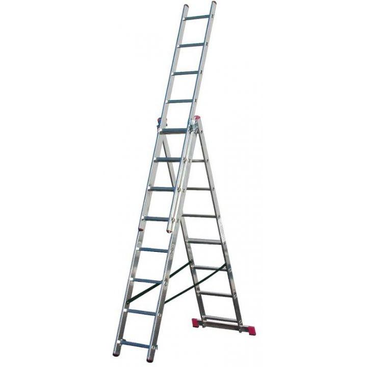 Лестница алюминиевая трехсекционная KRAUSE Corda (010384)