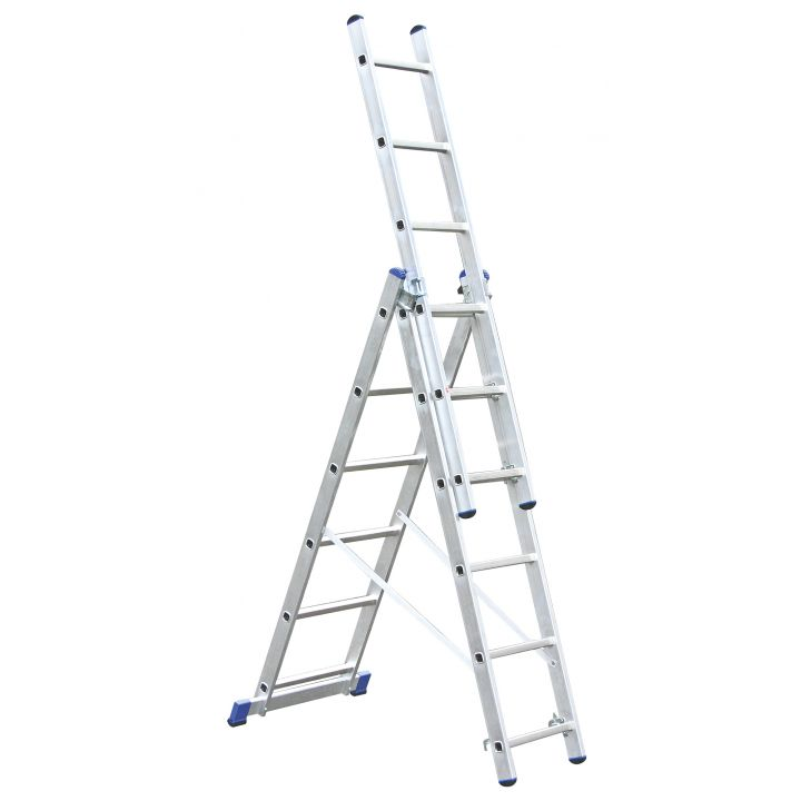 Лестница алюминиевая трехсекционная KRAUSE Corda (013361)