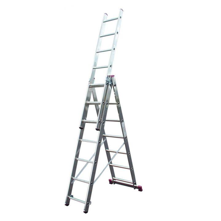 Лестница алюминиевая трехсекционная KRAUSE Corda (013378)