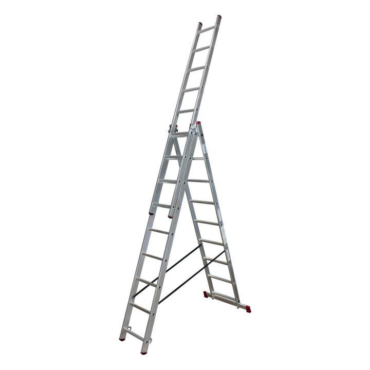 Лестница алюминиевая трехсекционная KRAUSE Corda (013385)
