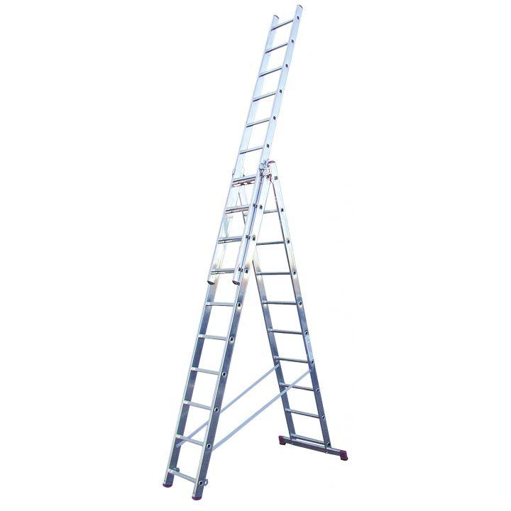 Лестница алюминиевая трехсекционная KRAUSE Corda (013408)